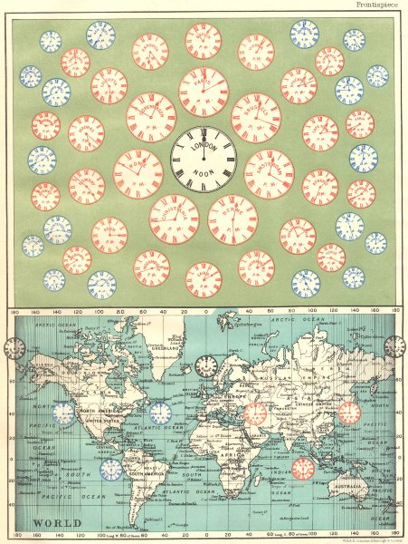 Associate Product TIME OF ALL NATIONS. predates UTC/standard hourly time zones. JOHNSTON 1899 map