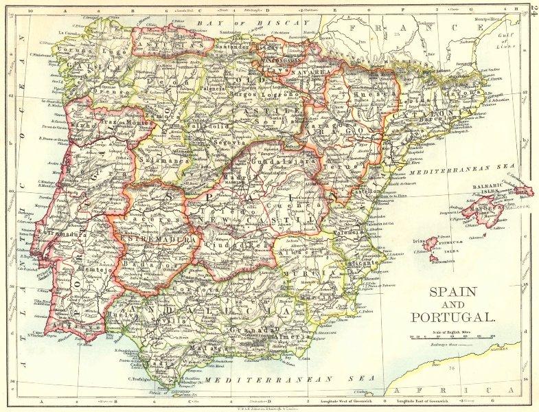 SPAIN AND PORTUGAL. Iberia. Provinces railways. Balearics. JOHNSTON 1899 map