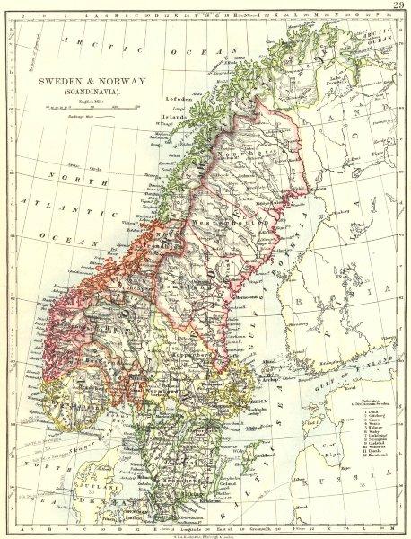 Associate Product SCANDINAVIA. Sweden Norway.Railways Undersea telegraph cables.JOHNSTON 1899 map