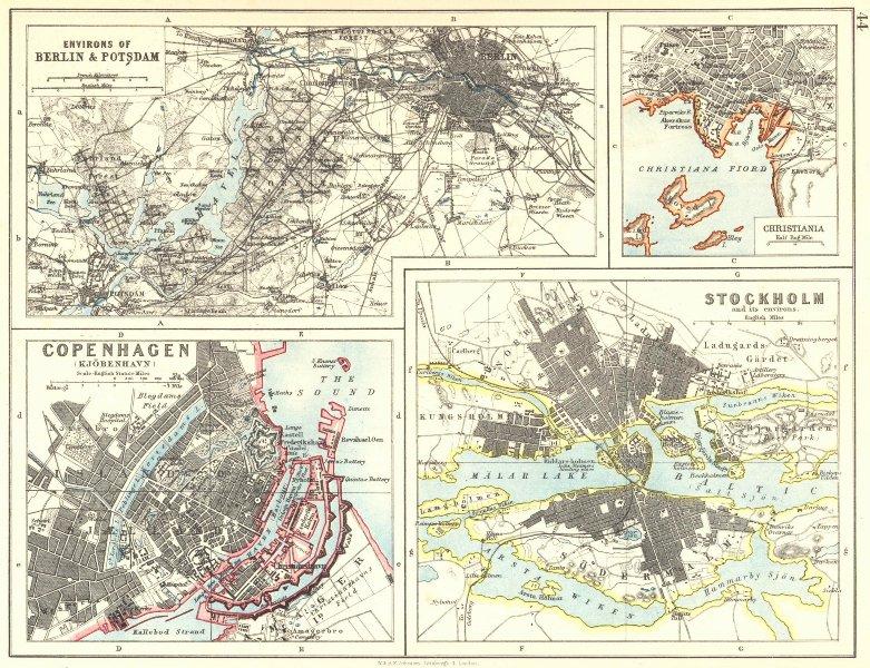 EUROPEAN CITIES. Berlin Copenhagen Stockholm Christiania/Oslo.JOHNSTON 1899 map