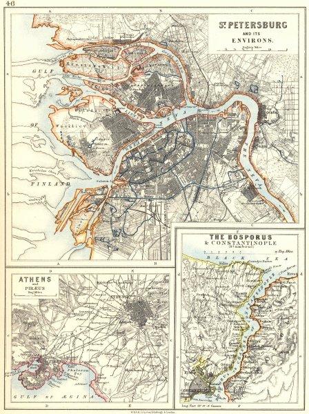 Associate Product EUROPE. St Petersburg Athens Piraeus Constantinpole Bosphorus.JOHNSTON 1899 map