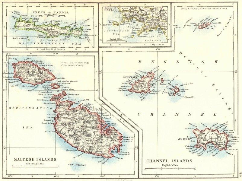 EUROPEAN ISLANDS.Malta Gozo Crete Capri Jersey Guernsey Sark. JOHNSTON 1899 map