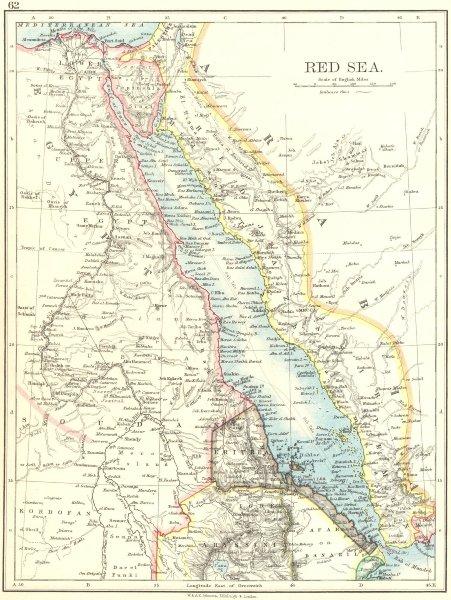 Associate Product RED SEA. Egypt Eritrea Hedjaz Asir Yemen. Nile valley. Sinai. JOHNSTON 1899 map