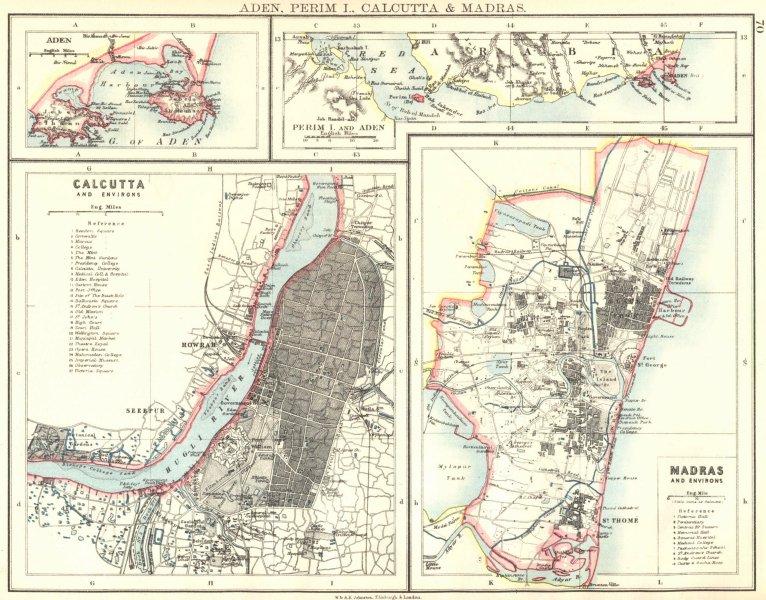 Associate Product BRITISH INDIA CITIES.Calcutta & Madras plans. Also Aden/Perim.JOHNSTON 1899 map