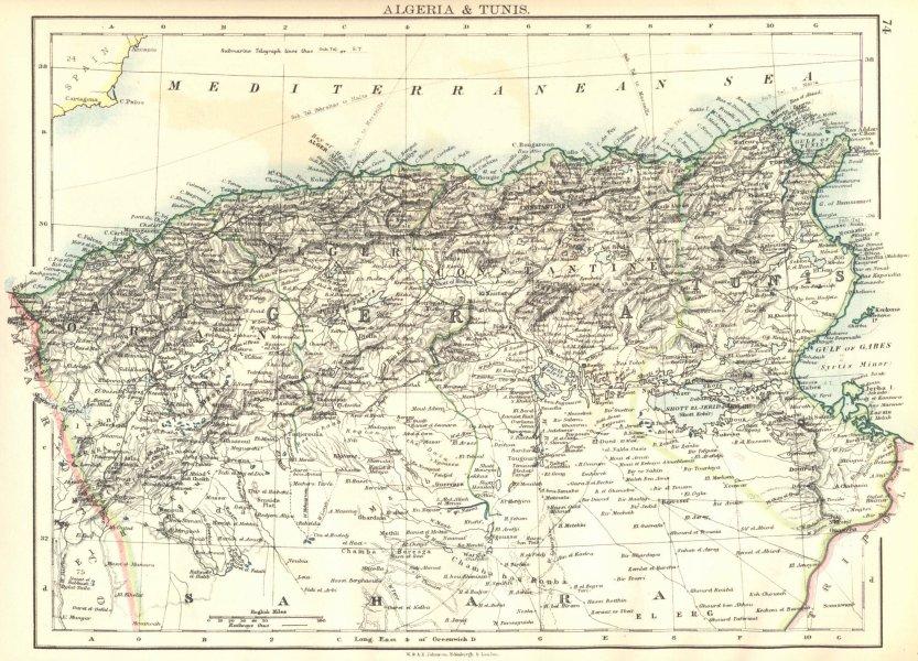 ALGERIA & TUNIS. Maghreb Tunisia. Provinces. Telegraph cables.JOHNSTON 1899 map