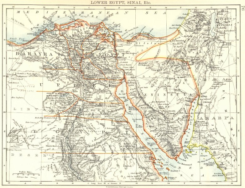 Associate Product LOWER EGYPT & SINAI. Provinces. Nile valley/delta. Railways. JOHNSTON 1899 map
