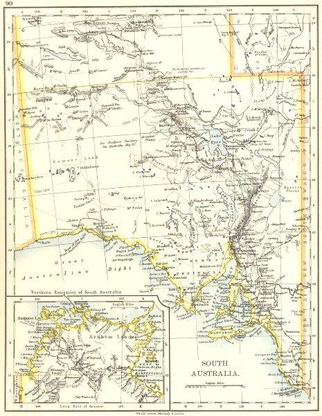 Associate Product SOUTH AUSTRALIA.Explorer route Sturt Giles Elder Forrest Eyre Tictkins 1899 map