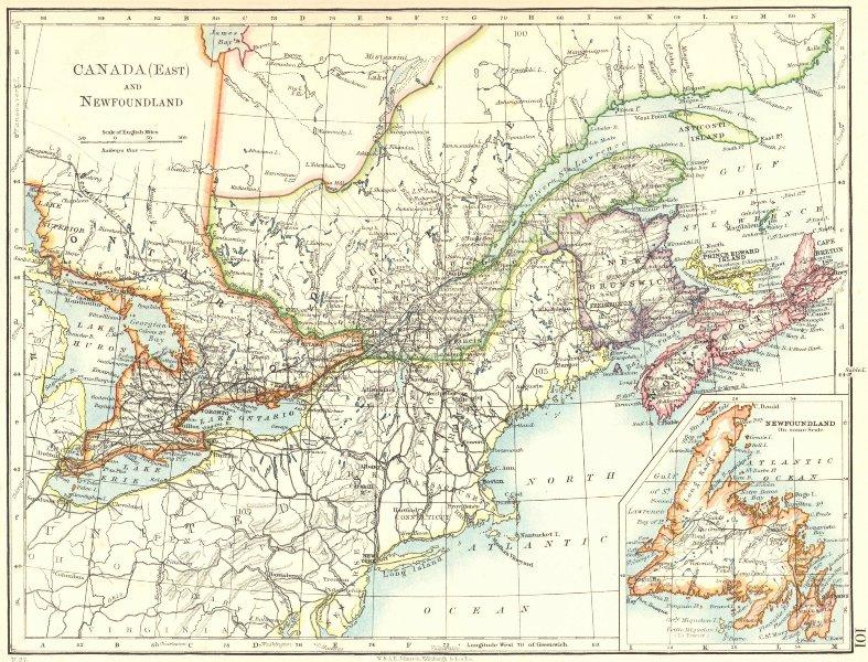 EASTERN CANADA. Ontario Quebec Maritime Provinces NB PE NS. JOHNSTON 1899 map