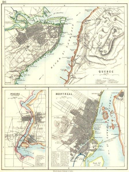 Associate Product CANADIAN CITIES.Quebec Montreal MontréalNiagara Falls plans. JOHNSTON 1899 map
