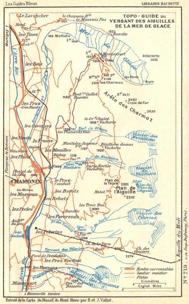 Associate Product Hte-SAVOIE. Guide Versant Aiguilles Mer Glace 1934 old vintage map plan chart