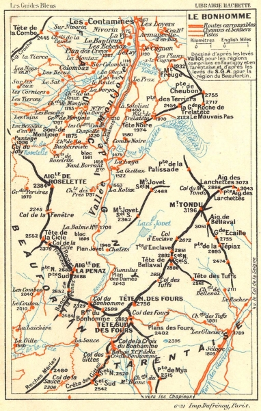 Associate Product HAUTE-SAVOIE. Bonhomme tarentais Beaufortin 1934 old vintage map plan chart