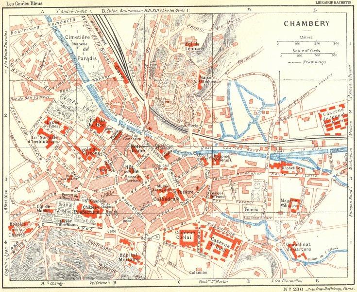 Associate Product SAVOIE. Chambéry, Challes-Eaux area 1934 old vintage map plan chart