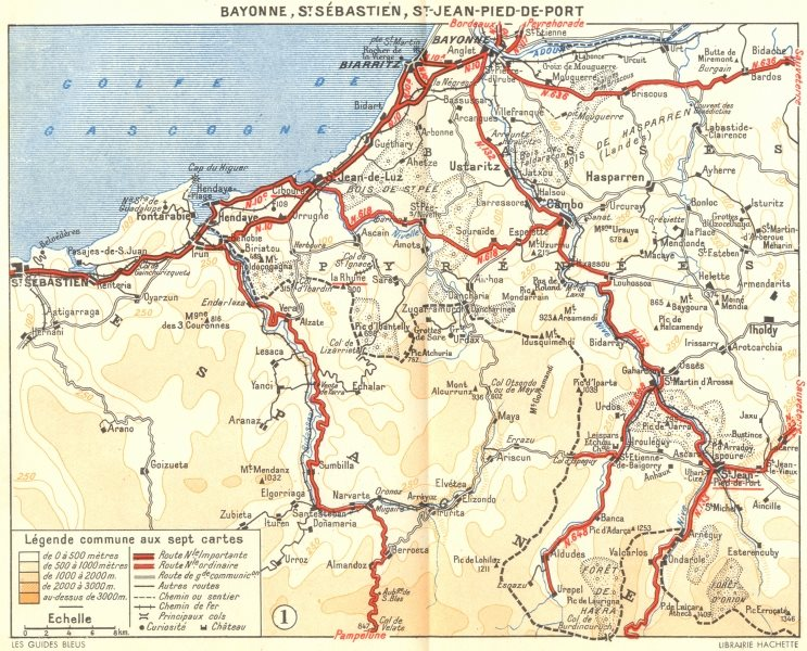 Associate Product BAYONNE. St Sebastien, Jean-Pied-de-port 1951 old vintage map plan chart