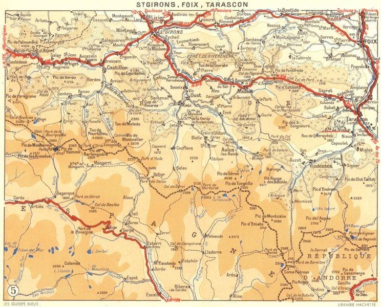 Associate Product ARIÈGE. De Toulouse a St-Girons. Foix, Tarascon 1951 old vintage map chart
