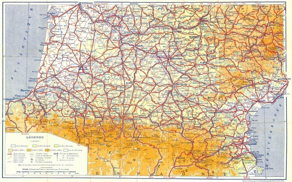FRANCE. Legende 1951 old vintage map plan chart