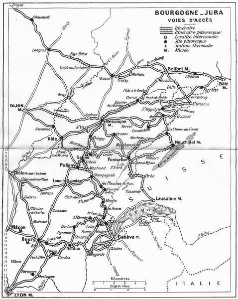 Associate Product FRANCE. Bourgogne-Jura Voies D'Acces 1924 old vintage map plan chart