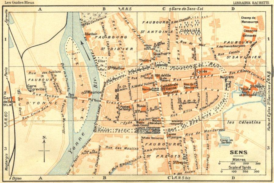Associate Product YONNE. Sens 1924 old vintage map plan chart