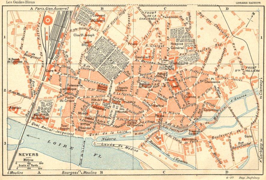 Associate Product NIÈVRE. Nevers 1924 old vintage map plan chart
