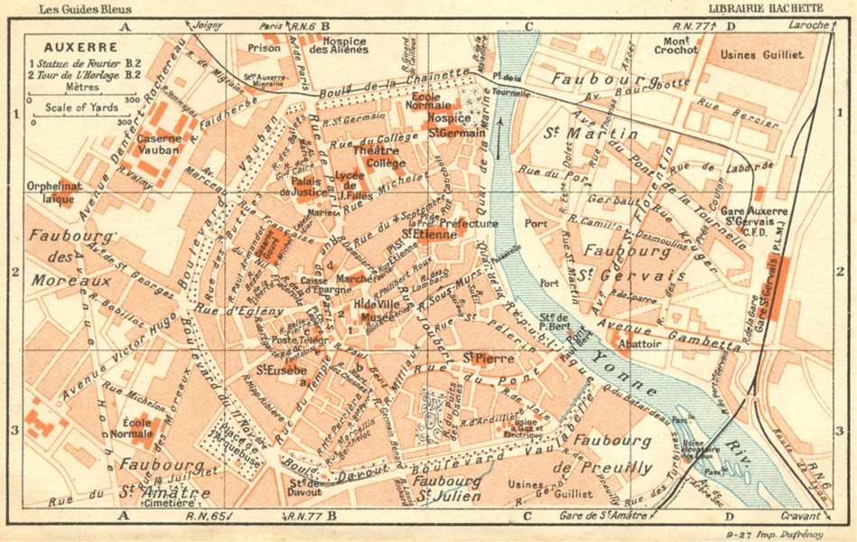 YONNE. Auxerre 1924 old vintage map plan chart