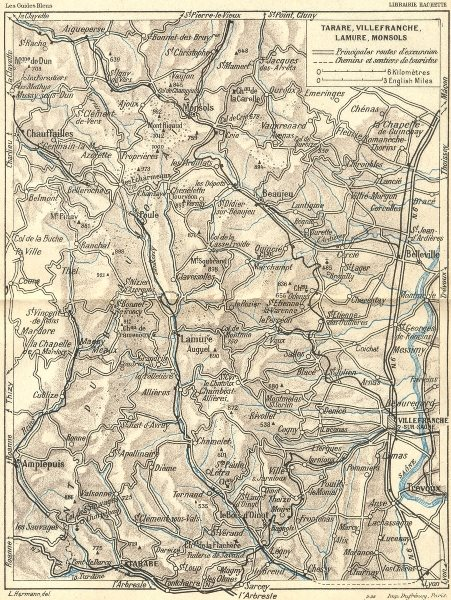 Associate Product DIJON. Lyon. Tarare, Villefranche, Lamure, Monsols 1924 old vintage map chart