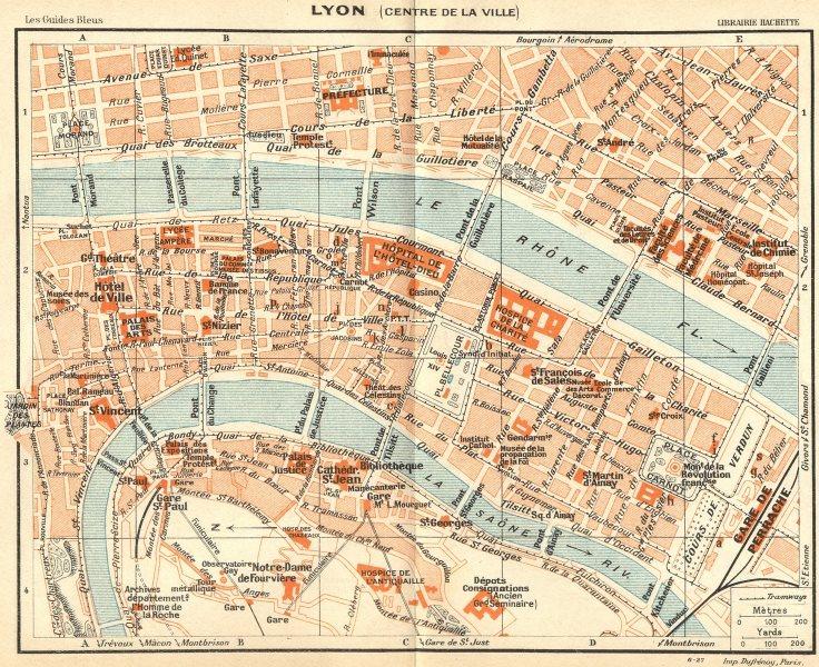 Associate Product RHÔNE. Lyon. (Centre de Ville) 1924 old vintage map plan chart
