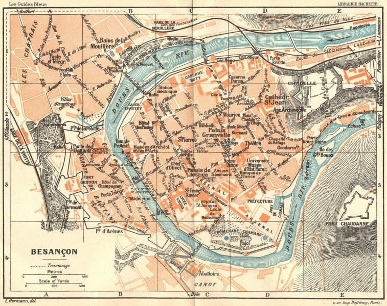 Associate Product DOUBS. Besançon 1924 old vintage map plan chart