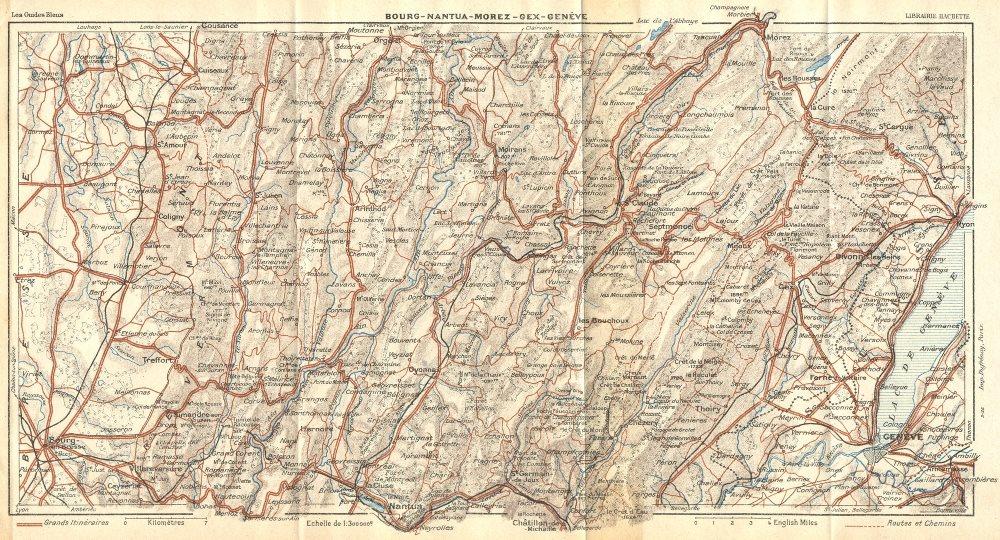 Associate Product FRANCE. Bourg-Nantua-Morez-Gex-Genève(Geneva) 1924 old vintage map plan chart