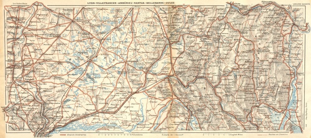 LYON. Villefranche-Amberieu-Nantua-Bellegarde 1924 old vintage map plan chart