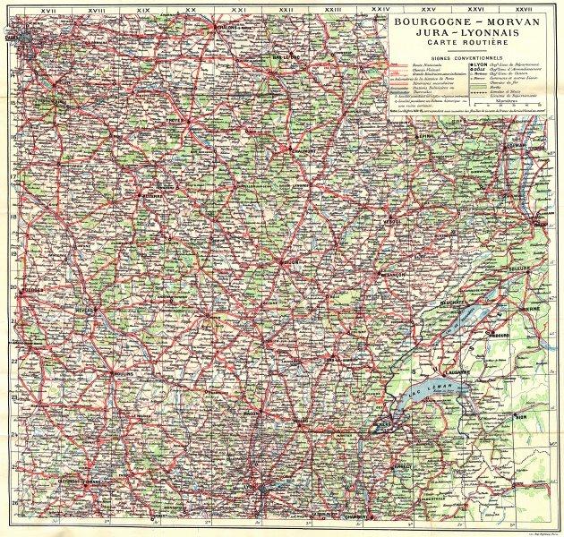Associate Product FRANCE. Bourgogne-Morvan Jura-Lyonnais Routiere 1924 old vintage map chart