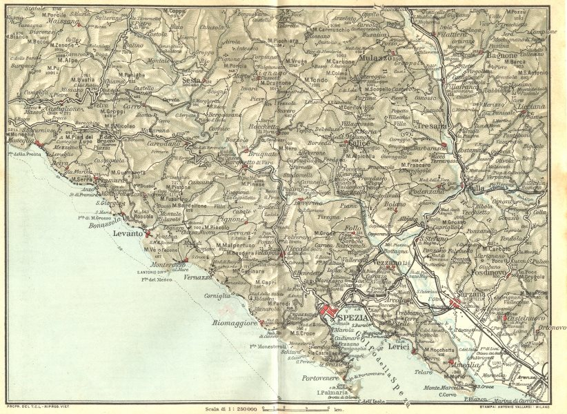 Associate Product ITALY. Moneglia La Spezia Levanto Sarzana 1926 old vintage map plan chart