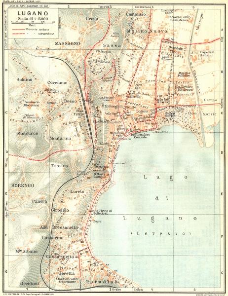 Associate Product SWITZERLAND. Lugano 1926 old vintage map plan chart