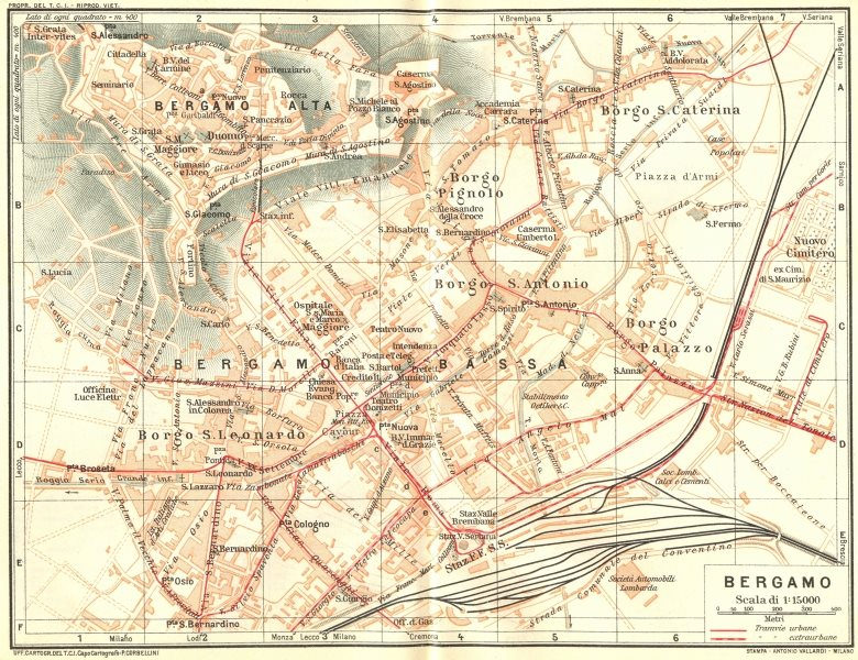 Associate Product ITALY. Bergamo 1926 old vintage map plan chart
