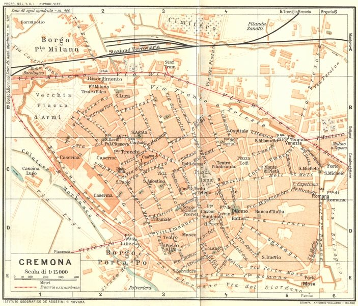 Associate Product ITALY. Cremona 1926 old vintage map plan chart