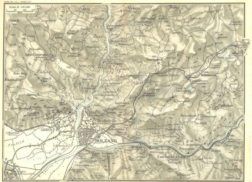 Associate Product ITALY. Venetie Tridentine. Area de Bolzano 1926 old vintage map plan chart