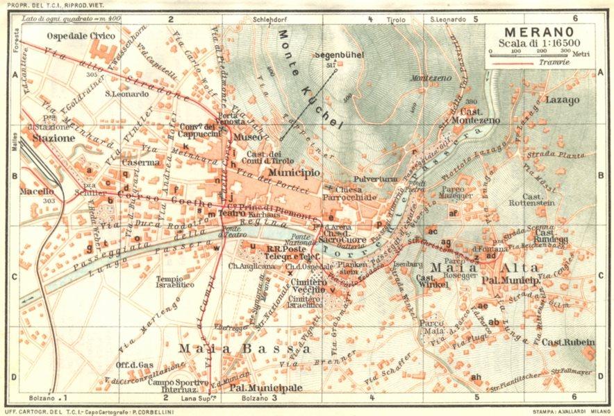 Associate Product ITALY. Venetie Tridentine. Merano 1926 old vintage map plan chart