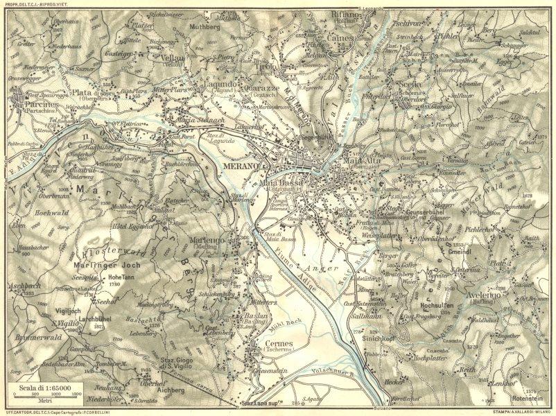 Associate Product ITALY. Venetie Tridentine. Area de Merano 1926 old vintage map plan chart