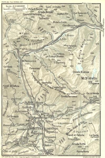 Associate Product CORTINA. Venetie Tridentine. Area de d'Ampezzo 1926 old vintage map plan chart