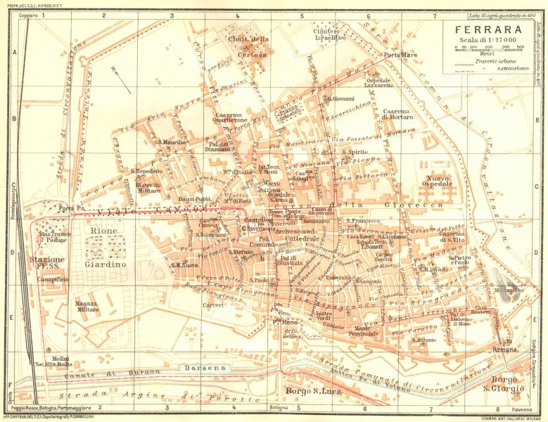 Associate Product ITALY. Ferrara 1926 old vintage map plan chart