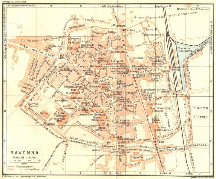 Associate Product ITALY. Ravenne. Ravenna 1926 old vintage map plan chart