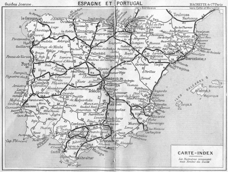 Associate Product SPAIN. Espagne(Spain)Portugal Carte index 1921 old vintage map plan chart