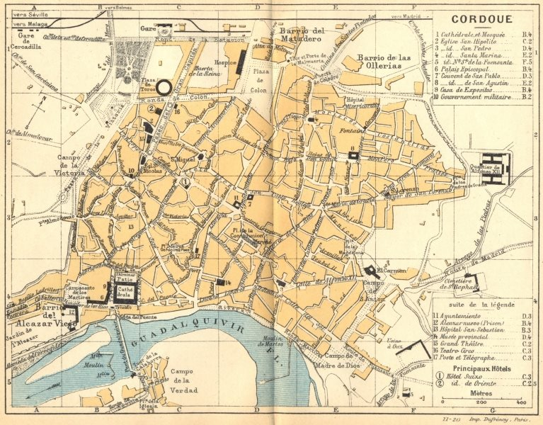 Associate Product SPAIN. Cordoba(Cordoue) 1921 old vintage map plan chart