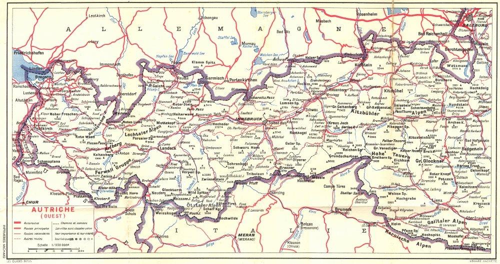 Associate Product AUTRICHE. Lindau Feldkirch Sargans. (Ouest) 1954 old vintage map plan chart