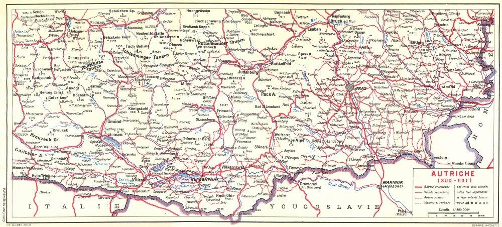 Associate Product AUSTRIA. Tyrol Oriental. Autriche(Sud-Est) 1954 old vintage map plan chart