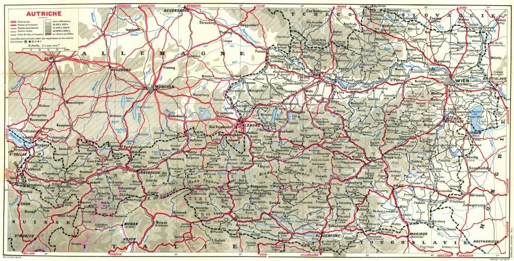 Associate Product AUSTRIA. Autriche 1954 old vintage map plan chart