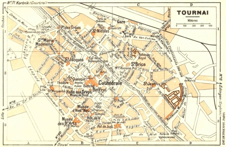 Associate Product BELGIUM. Tournai 1953 old vintage map plan chart