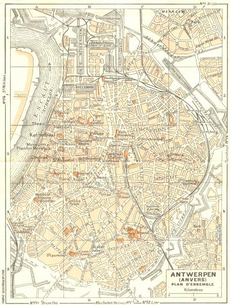 Associate Product BELGIUM. Anvers(Antwerpen). plan D'Ensemble 1953 old vintage map chart