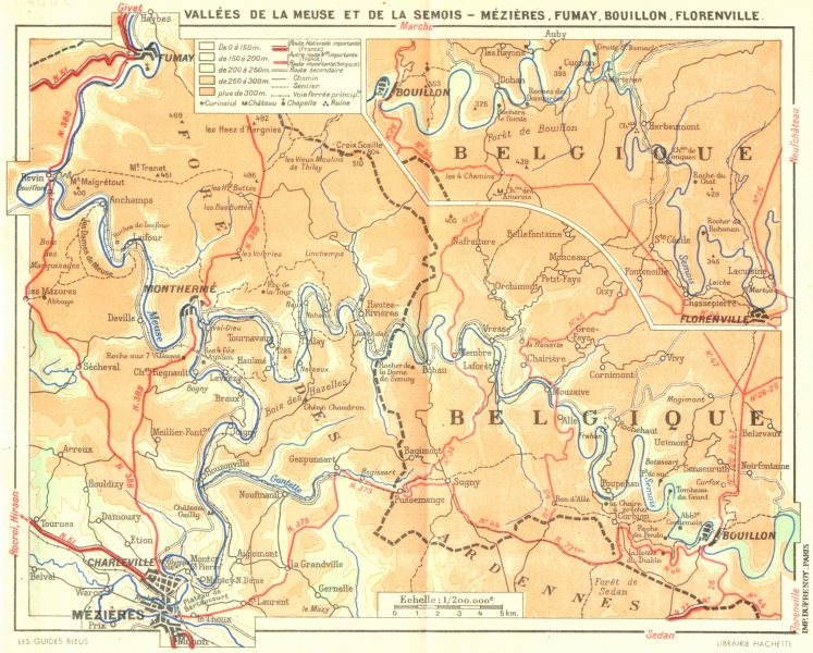 Associate Product MEUSE. Mezieres, Fumay, Bouillon, Florenville 1953 old vintage map plan chart