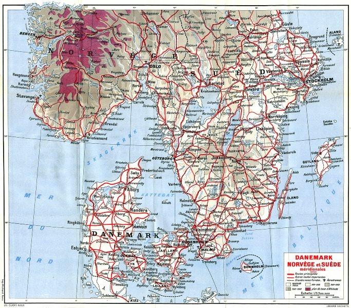 Associate Product DENMARK. Norvege Suede Meridionales 1955 old vintage map plan chart