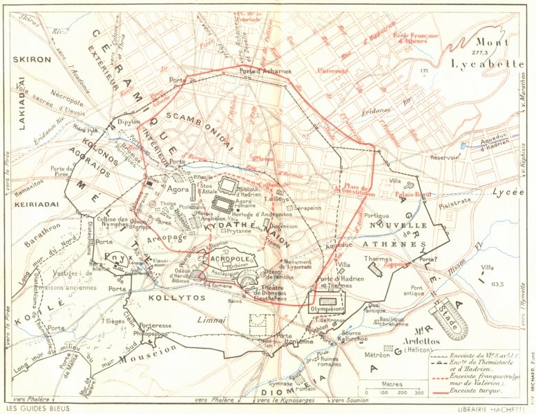 Associate Product ATHENS old/new cities compared. City walls 6C BC Hadrian Frankish Turks 1956 map