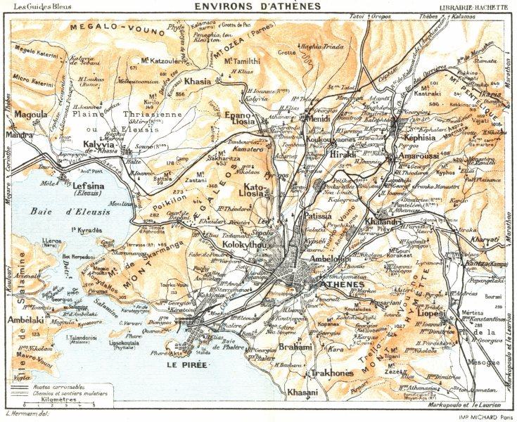 Associate Product ATHENS environs. Vintage map. Piraeus. Greece. Athènes 1956 old vintage